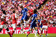 Arsenal defender Nacho Monreal (18), Chelsea forward Diego Costa (19) during the The FA Cup Final match between Arsenal and Chelsea at Wembley Stadium, London, England on 27 May 2017. Photo by Sebastian Frej.