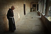 Franciscan priest is followed by a pigeon he has befriended. Zadar, Croatia