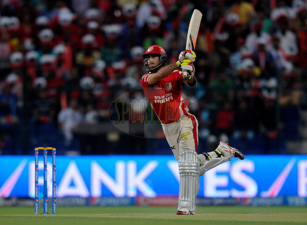 Glenn Maxwell of the Kings X1 Punjab bats during match 15 of the Pepsi Indian Premier League 2014 Season between The Kings XI Punjab and the Kolkata Knight Riders held at the Sheikh Zayed Stadium, Abu Dhabi, United Arab Emirates on the 26th April 2014<br /> <br /> Photo by Pal Pillai / IPL / SPORTZPICS