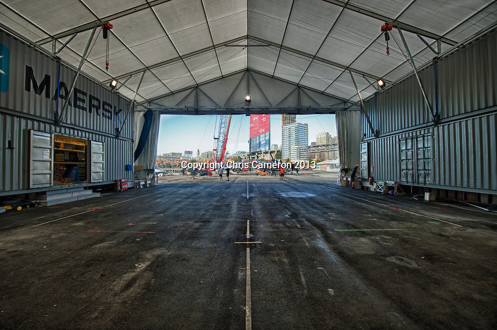 Emirates Team New Zealand rig NZL 5 for day 14 of America's Cup 34. 24/9/2013