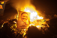 Campaign posters of presidential candidate Jude Celestin were burnt on the streets of Port-au-Prince. Protesters took to the streets minutes after prelimary election results were announced.