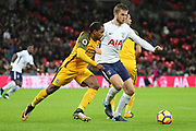 Brighton and Hove Albion midfielder Jose Izquierdo (19) battles for possession with Eric Dier of Tottenham Hotspur (15)  during the Premier League match between Tottenham Hotspur and Brighton and Hove Albion at Wembley Stadium, London, England on 13 December 2017. Photo by Matthew Redman.