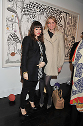 Left to right, ANNIE MORRIS and SOPHIE DAHL at  private view of art works by Annie Morris entitled 'There is A Land Called Loss' held at Pertwee Anderson & Gold Gallery, 15 Bateman Street, London W1 on 2nd February 2012.