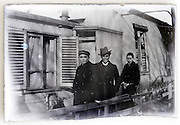 glass plate image of three young men casual posing