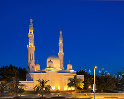 Evening view of Jumeirah Grand Mosque in Dubai United Arab Emirates UAE