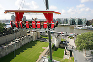 Lesley Garrett gives a unique performance 50 metres above the Tower of London to promote the new Sky Seats Extra scheme, which offers reduced price opera tickets to the public. Sky Arts, sponsors of The English National Opera, will now provide 14,000 seats for as little as £20 a ticket..