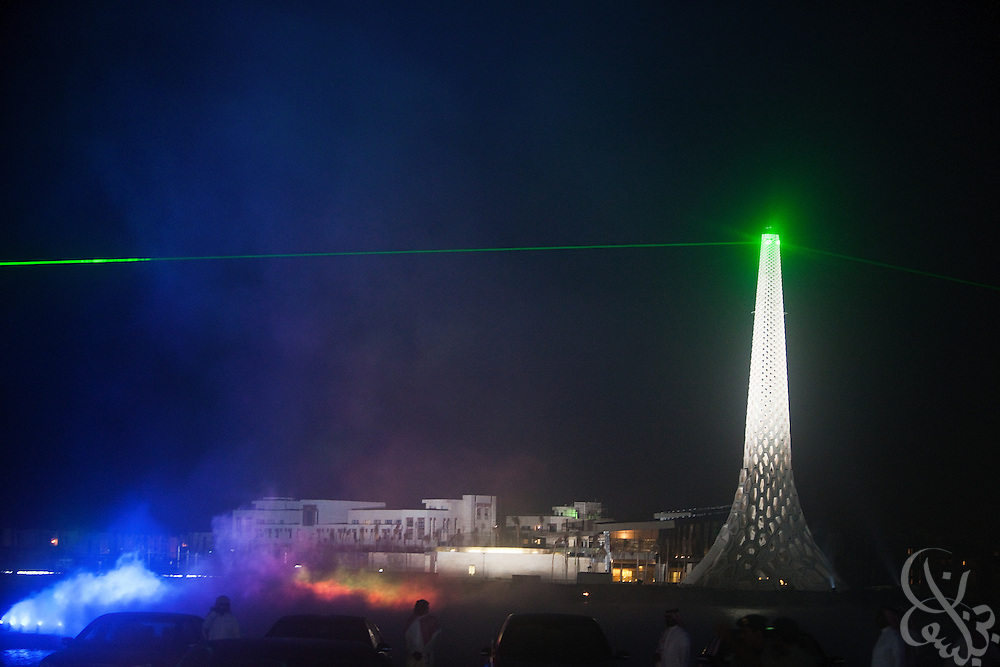 The Breakwater Beacon is illuminated during the inauguration of King Abdullah University of Science and Technology (KAUST) on September 23, 2009, in Thuwal, Saudi Arabia (80 kilometers north of Jeddah). KAUST is a graduate-level research institution that has attracted top scientists and students from around the world.
