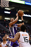 Mar 15, 2017; Phoenix, AZ, USA; Sacramento Kings forward Skal Labissiere (3) shoots the ball against the Phoenix Suns in the second half at Talking Stick Resort Arena. The Sacramento Kings won 107 - 101. Mandatory Credit: Jennifer Stewart-USA TODAY Sports