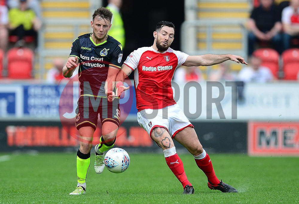 Ollie Clarke of Bristol Rovers battles for the ball with Richie Towell of Rotherham United - Mandatory by-line: Alex James/JMP - 21/04/2018 - FOOTBALL - Aesseal New York Stadium - Rotherham, England - Rotherham United v Bristol Rovers - Sky Bet League One