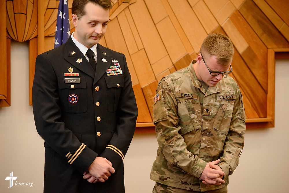 Photographs from the formal oath of office ceremony of Chief Warrant Officer Justin Cullen, Military Police branch to the rank of 2nd Lieutenant, Chaplain Candidate Branch, United States Army, on Thursday, Jan. 4, 2018, at the International Center of The Lutheran Church–Missouri Synod in St. Louis. LCMS Communications/Erik M. Lunsford