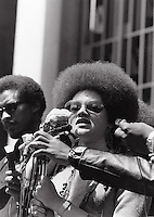 Kathleen Cleaver at Black Panther demonstration in Oakland California in the late 1960's.