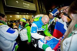 Ilka Stuhec and Andrej Tavzelj, ice hockey player at reception of Slovenia team arrived from Winter Olympic Games Sochi 2014 on February 19, 2014 at Airport Joze Pucnik, Brnik, Slovenia. Photo by Vid Ponikvar / Sportida