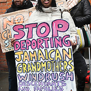 The Jamaican community protest against the Jamaica government acting like a British imperial slave colluding with the British govreanment deportation of 36 Jamaican living in the UK since they are a child. Some even marriage with a English lady and have children. Protestors demand the Jamaica government to reject the charter flight to Jamaica on wednesday 6th feb 2019 outside High Commission of Jamaica, London 1 Prince Consort Road, London, UK.