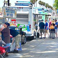 Food trucks along Ocean Ave. in Santa Monica on Sunday, July 1, 2012.