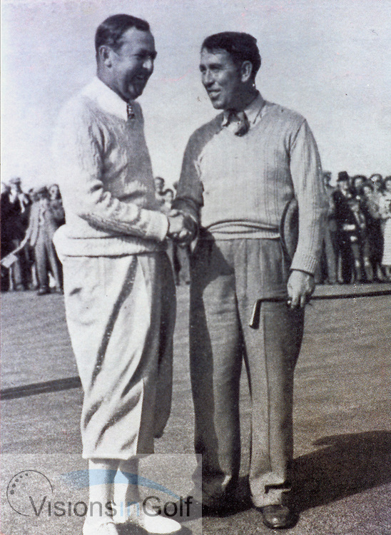 Bobby Locke (Left) and Harry Bradshaw after the Open Championship 1949 play off, Locke won<br /> Picture Credit: &copy;Visions In Golf / Michael Hobbs
