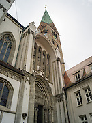 Low-angle view of St. Maria's Church, Augsburg, Bavaria, Germany.