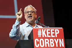 © Licensed to London News Pictures. 07/07/2016. LONDON, UK.  Founder of Momentum and Labour party activist, JON LANSMAN speaking at a rally in support of keeping Jeremy Corbyn remaining the Labour party leader at the Troxy in east London on 6th July 2016. The event was organised by Momentum, a group of Labour Party supporters who are campaigning for Jeremy Corbyn to remain as leader of the Labour Party, following the recent resignation of many shadow cabinet MP's and the growing likelihood of a Labour Party leadership challenge..  Photo credit: Vickie Flores/LNP