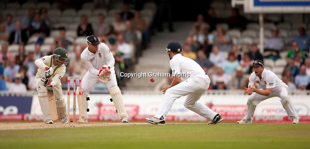 Salman Butt is out caught by Paul Collingwood (right) off Graeme Swann during the third npower Test Match between England and Pakistan at the Oval.  Photo: Graham Morris (Tel: +44(0)20 8969 4192 Email: sales@cricketpix.com) 21/08/10