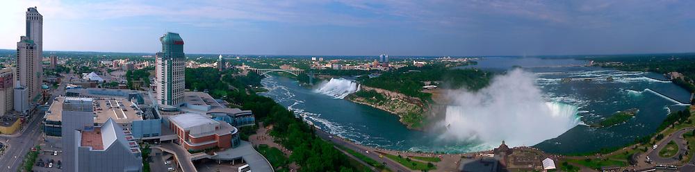 Panorama of Niagara Falls at evening.