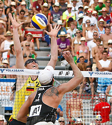 07.08.2011, Klagenfurt, Strandbad, AUT, Beachvolleyball World Tour Grand Slam 2011, im Bild Jonar Reckermann GER, Pedro Cunha Brazil, AUT , EXPA Pictures © 2011, EXPA Pictures © 2011, PhotoCredit: EXPA/ G. Steinthaler