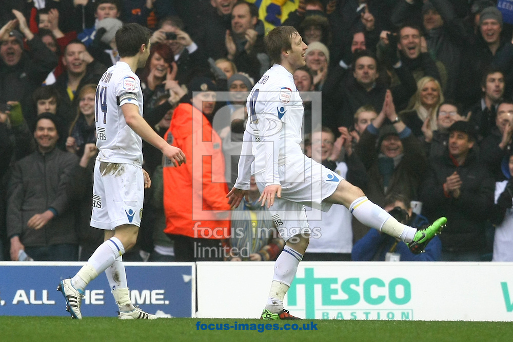 Leeds - Saturday February 19th, 2011: Luciano Becchio of Leeds opens the scoring and celebrates during the Npower Championship match at Elland Road, Leeds. (Pic by Paul Chesterton/Focus Images)