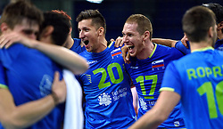 Uros Pavlovic #20, Tine Urnaut #17 of Slovenia celebrate after winning during volleyball match between National teams of Poland and Slovenia in Quarterfinals of 2015 CEV Volleyball European Championship - Men, on October 14, 2015 in Arena Armeec, Sofia, Bulgaria. Photo by Ronald Hoogendoorn / Sportida