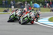 #66 Tom Sykes / GBR / Kawasaki ZX-10R / Kawasaki Racing Team battling with #1 Jonathan Rea / GBR / Kawasaki ZX-10R / Kawasaki Racing Team during the 2016 World Superbike Championship at Donington Park, Castle Donington, United Kingdom on 28 May 2016. Photo by Jon Hobley.