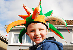Eoin Heneghnan aged 5 and enjoying the St Patricks parade in Ballinrobe...Pic Conor McKeown