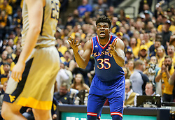 Jan 15, 2018; Morgantown, WV, USA; Kansas Jayhawks center Udoka Azubuike (35) reacts after a technical foul was called on him during the first half against the West Virginia Mountaineers at WVU Coliseum. Mandatory Credit: Ben Queen-USA TODAY Sports