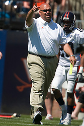 Virginia special teams coach Ron Prince on the sidelines during the spring scrimmage.  The Virginia Cavaliers football team played the annual spring football scrimmage at Scott Stadium on the Grounds of the University of Virginia in Charlottesville, VA on April 18, 2009.  (Special to the Daily Progress / Jason O. Watson)
