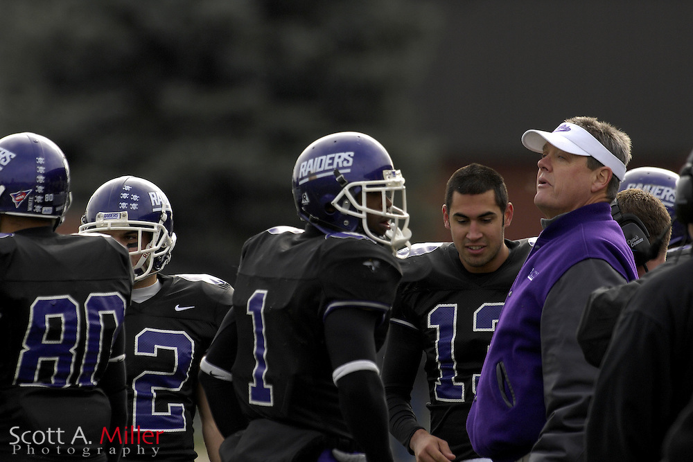 Nov. 24, 2007; Alliance, OH, USA;  Mount Union Purple Raiders coach Larry Kehres during his team's 59-7 win over the College of New Jersey Lions in the second round of the Division III playoffs at Mount Union Stadium. Hired prior to the 1986 season, Kehres has the highest winning percentage of any head coach in modern college football history. He is the winningest active coach in terms of percentage in NCAA history. Through the second round of the 2007 playoffs, coach Kehres has a record of 258-20- 3. Under Kehres, the Raiders have won nine Division III National Championships in the last 14 years ('93, '96, '97, '98, '00, & '01, '02, '05, '06)....©2007 Scott A. Miller