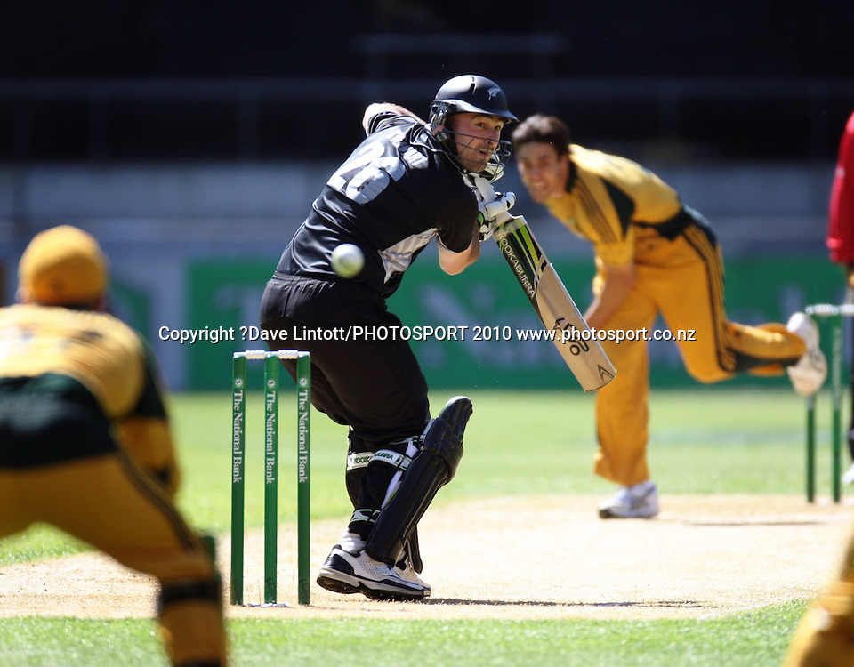 NZ's Shanan Stewart edges behind to Australian keeper Brad Haddin off Mitchell Johnson.<br /> Fifth Chappell-Hadlee Trophy one-day international cricket match - New Zealand v Australia at Westpac Stadium, Wellington. Saturday, 13 March 2010. Photo: Dave Lintott/PHOTOSPORT