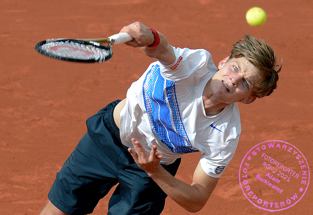 David Goffin of Belgium competes in the men's singles while Day Eight during The French Open at Roland Garros Tennis Club in Paris, France...France, Paris, June 03, 2012..Picture also available in RAW (NEF) or TIFF format on special request...For editorial use only. Any commercial or promotional use requires permission...Photo by © Adam Nurkiewicz / Mediasport