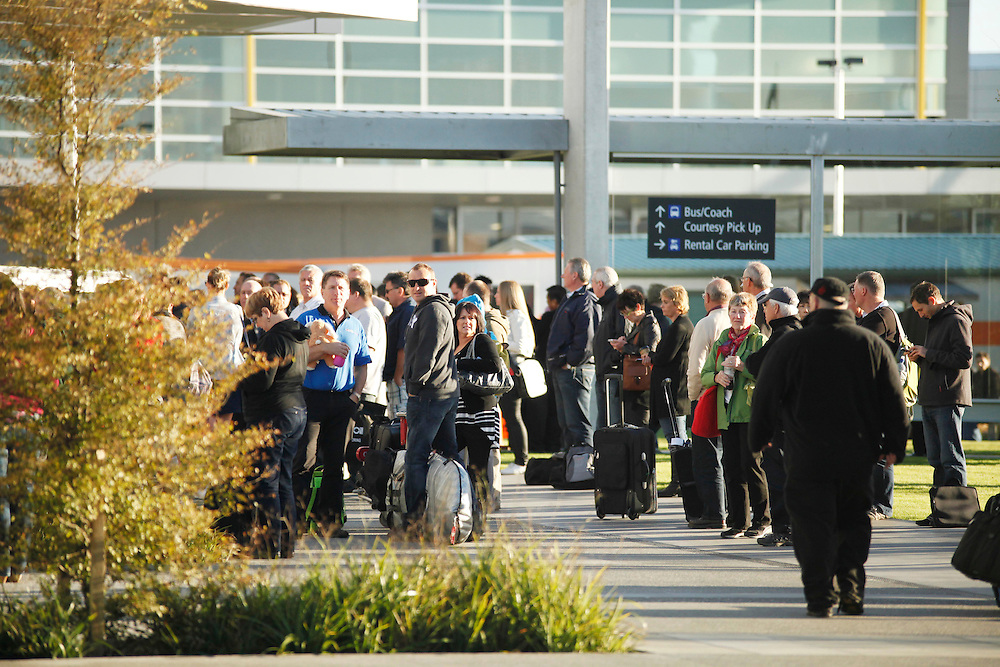 The public evacuated from Christchurch International Airport as fire trucks arrive, Christchurch, New Zealand, Friday, March 09, 2012.  Credit:SNPA / Pam Johnson