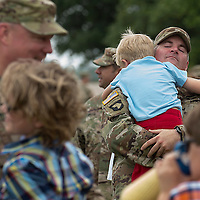 *****Main Photo*****<br /> <br /> Sgt. 1st Class Jeff Bragg hugs his 4-year-old son Preston after the 36th Infantry Division was released from formation after their Deployment Ceremony Tuesday afternoon at Fort Hood. The 36th ID will be deploying to Afghanistan in order to provide training, assistance and advice for the Afghan National Defense and other Security Forces.