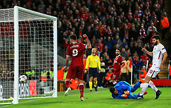 Roberto Firmino of Liverpool scores a goal - Mandatory by-line: Matt McNulty/JMP - 24/04/2018 - FOOTBALL - Anfield - Liverpool, England - Liverpool v Roma - UEFA Champions League Semi Final, 1st Leg