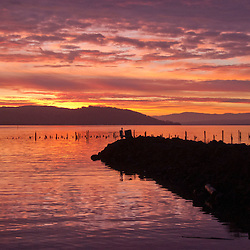 Jetty at Dawn at Ilwaco Harbor, Ilwaco, Washington, US