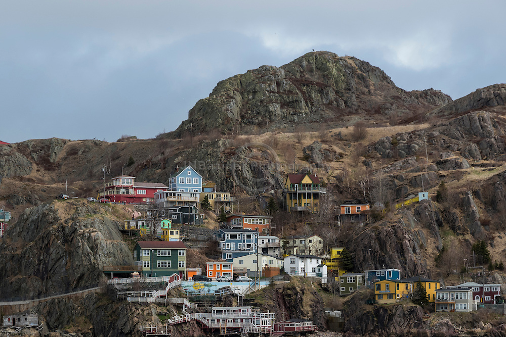 Colourful homes on Battery Rd situated in St-John's Harbour Newfoundland Labrador, Canada