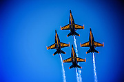 The Blue Angels fly over MCAS Miramar during the 2011 Miramar Air Show. Photo by John Lill