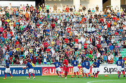 Players of France kicking balls to supporters during the UEFA European Under-17 Championship Group A match between Germany and France on May 10, 2012 in SRC Stozice, Ljubljana, Slovenia. (Photo by Vid Ponikvar / Sportida.com)