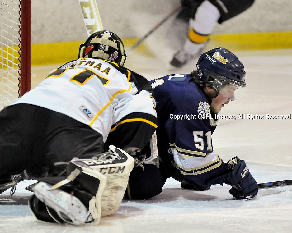 TORONTO, ON - Apr 14: Ontario Junior Hockey League, Buckland Cup Championship Series between the Aurora Tigers and the Toronto Patriots. Rory Bell #51 of the Toronto Lakeshore Patriots collides with Kevin Entmaa #37 of the Aurora Tigers during the first period.<br /> (Photo by Shawn Muir / OJHL Images)