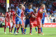 AFC Wimbledon defender Paul Robinson (6) and AFC Wimbledon striker Lyle Taylor (33) await the free kick  during the EFL Sky Bet League 1 match between Walsall and AFC Wimbledon at the Banks's Stadium, Walsall, England on 6 August 2016. Photo by Stuart Butcher.