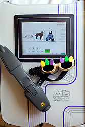 14 January 2014. New Orleans, Louisiana.<br /> Lakeview Veterinary Hospital Inc. <br /> An MLS (Multiwave Locked System) Laser therapy system. <br /> Photo Credit; Charlie Varley/varleypix.com