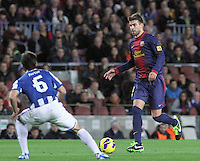 06.01.2013 Barcelona, Spain. La Liga day 18. Picture show Geraqrd Pique in action during game between FC Barcelona against RCD Espanyol at Camp Nou