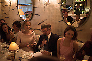 EDITE LIGERE; ROBIN BIRLEY; ?, Robin Birley and Lady Annabel Goldsmith Summer Party. Hertford St. London. 5 July 2017