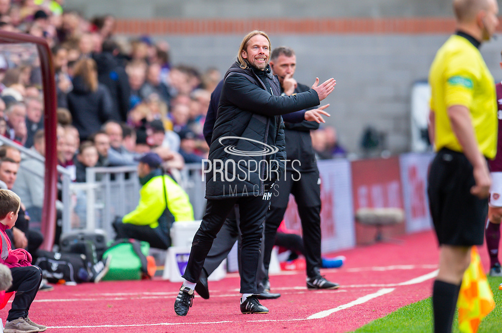Heart of Midlothian assistant manager Austin MacPhee signals to his players during the Ladbrokes Scottish Premiership match between Heart of Midlothian and Rangers FC at Tynecastle Park, Edinburgh, Scotland on 20 October 2019.