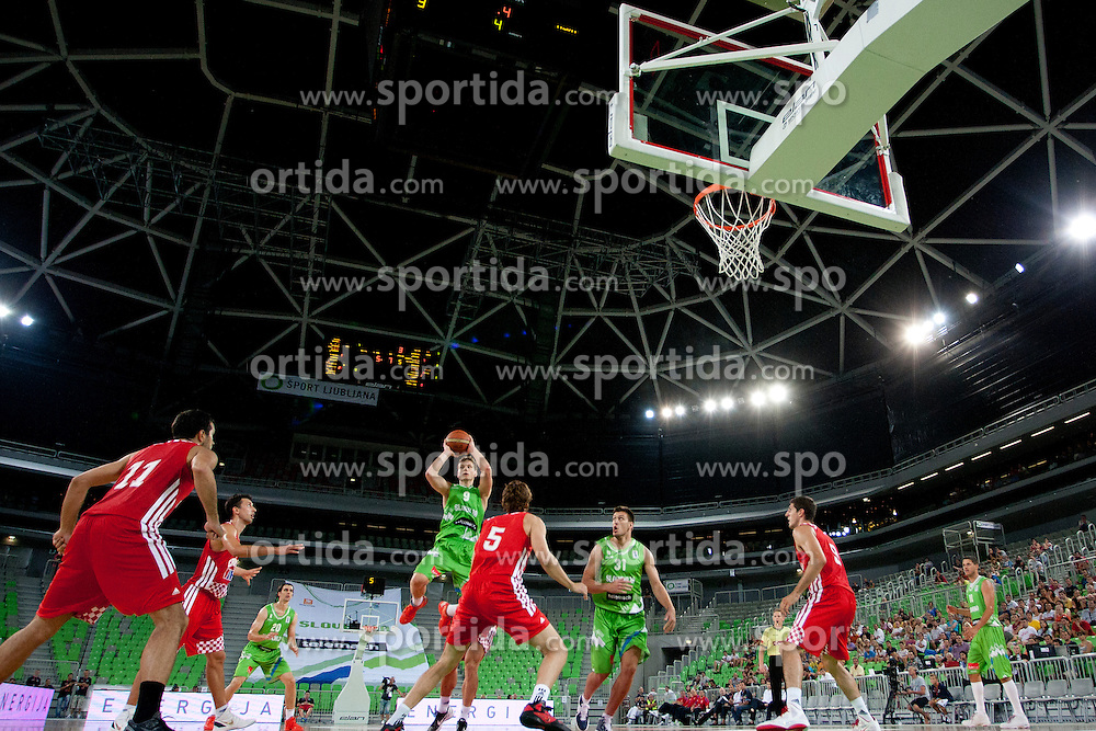 Jaka Blazic of Slovenia during friendly basketball match between National teams of Slovenia and Croatia of Adecco Ex-Yu Cup 2012 as part of exhibition games 2012, on August 4, 2012, in Arena Stozice, Ljubljana, Slovenia. (Photo by Urban Urbanc / Sportida)