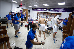 Team Slovenia celebrating in a locker room after winning during the Final basketball match between National Teams  Slovenia and Serbia at Day 18 of the FIBA EuroBasket 2017 when Slovenia became European Champions 2017, at Sinan Erdem Dome in Istanbul, Turkey on September 17, 2017. Photo by Sportida