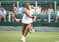 Barbora Strycova in her round of 16 match against Elise Mertens on court 12 on day seven of the Wimbledon Championships at the All England Lawn Tennis and Croquet Club, London.