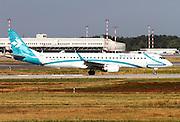 Air Dolomiti, Embraer ERJ-195. Photographed at Malpensa airport, Milan, Italy